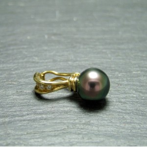 18ct Yellow Gold Pearl and Diamond Clip Pendant