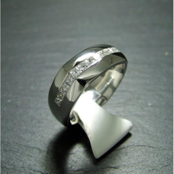 Platinum Diamond Set Square Ring