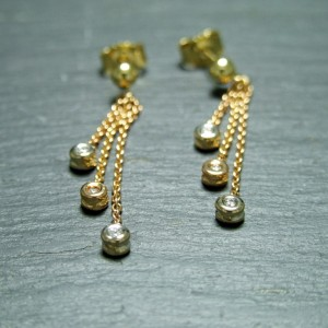 18ct Pink Gold Diamond Drop Earrings