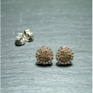 18ct Pink Gold Champagne Diamond Cluster Earrings