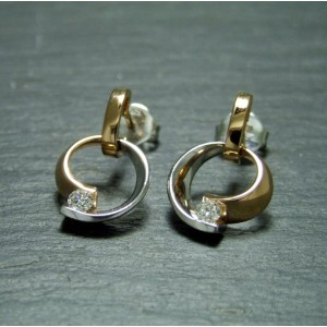 18ct White and Pink Gold Diamond Earrings