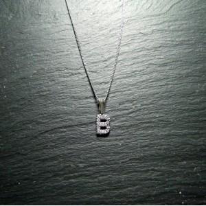 18ct White Gold Diamond Initial B Pendant