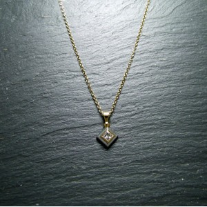 18ct White and Yellow Gold Diamond Solitaire Pendant