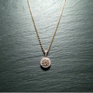 18ct Pink Gold Diamond Pendant