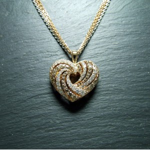 18ct Pink Gold Diamond Heart Pendant