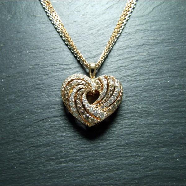 18ct Pink Gold Diamond Heart Pendant