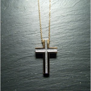 18ct Pink Gold Diamond Set Cross Pendant