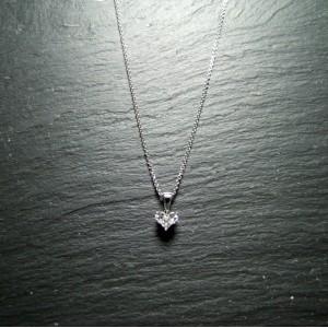 18ct White Gold Diamond Lady Heart Pendant