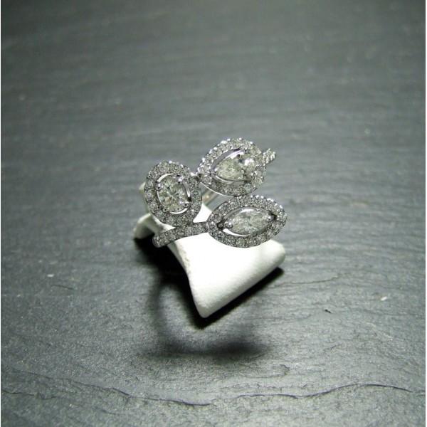White Gold Diamond Set Dress Ring