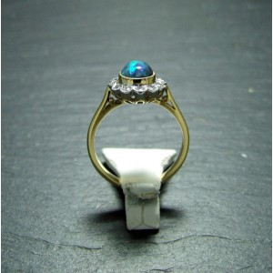 18ct Yellow Gold Black Opal and Diamond Dress Ring