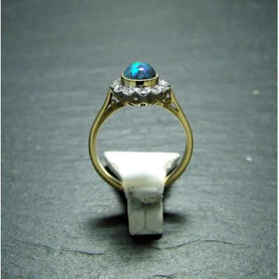 18ct Yellow Gold Black Opal and Diamond Dress Ring