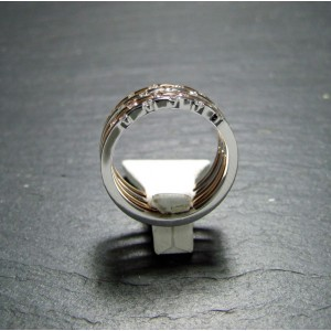 18ct Pink and White Gold Diamond Set Ring