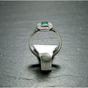 Platinum Emerald and Diamond Dress Ring