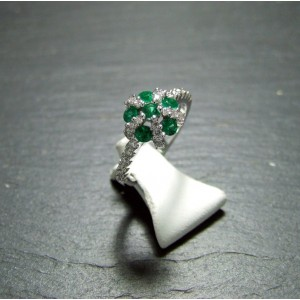 18ct White Gold Emerald and Diamond Dress Ring