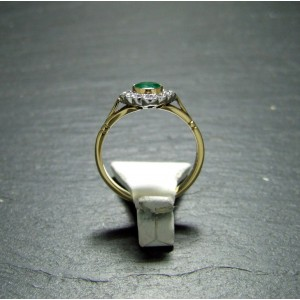 18ct Yelllow Gold Emerald and Diamond Dress Ring