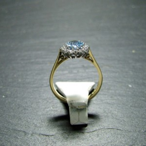 18ct Yellow Gold Aquamarine and Diamond Dress Ring