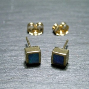 9ct Yellow Gold Black Opal Stud Earrings