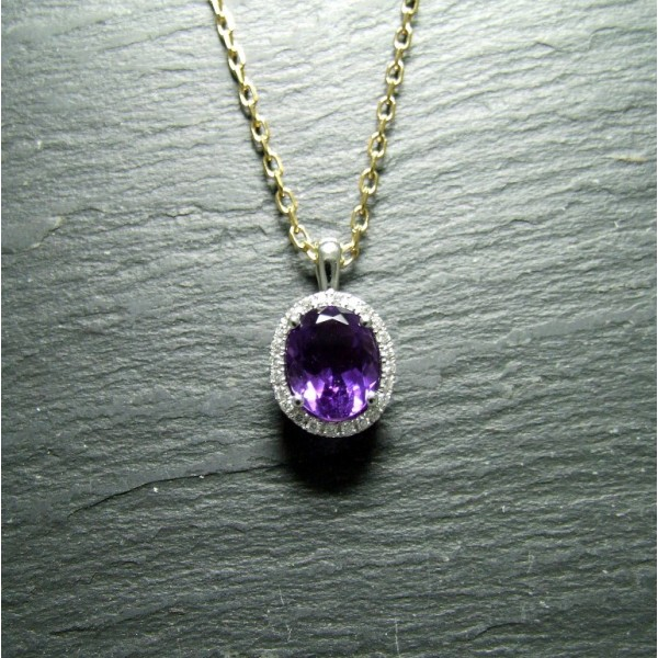 18ct White Gold Amethyst and Diamond Pendant