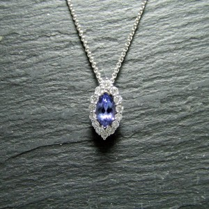 18ct White Gold Tanzanite and Diamond Pendant