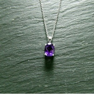 9ct White Gold Amethyst Pendant