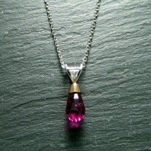 18ct White Gold Rubellite and Diamond Pendant