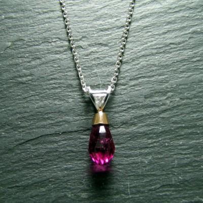 18ct White Gold Rubellite and Diamond Pendant