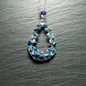 9ct White Gold Blue Topaz and Iolite Pendant