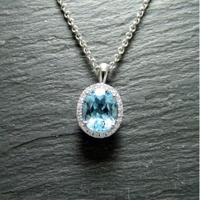 18ct White Gold Blue Topaz and Diamond Pendant
