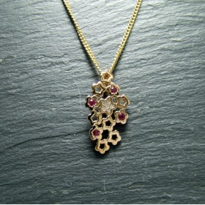 18ct Pink Gold Ruby and Diamond Pendant
