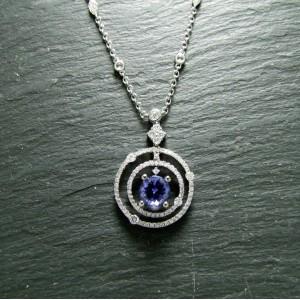 18ct White Gold Tanzanite and Diamond Pendant with Diamond Set Chain