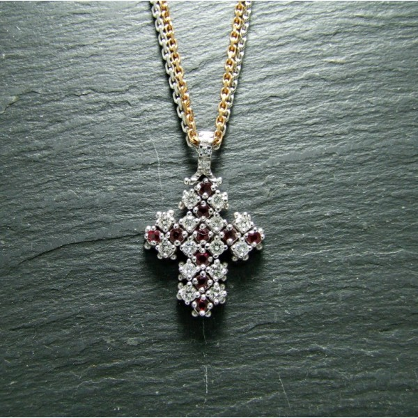 18ct White Gold Ruby and Diamond Cross