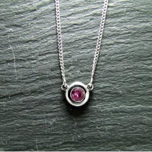 18ct White Gold Pink Sapphire Pendant