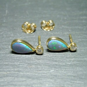 18ct Yellow Gold Black Opal and Diamond Drop Earrings