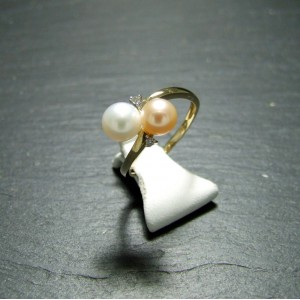 9ct Yellow Gold Pearl and Diamond Dress Ring