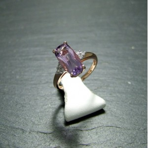 9ct Pink Gold Amethyst and Diamond Dress Ring
