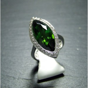 18ct White Gold Green Tourmaline and Diamond Dress Ring