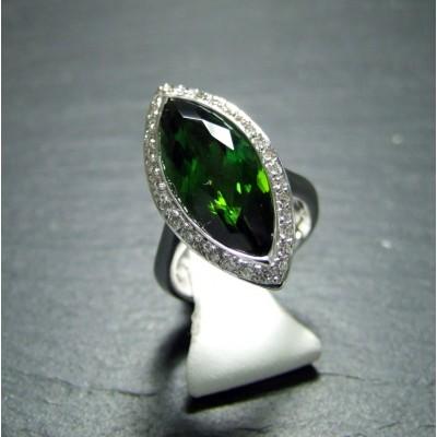 18ct White Gold Green Tourmaline and Diamond Dress Ring