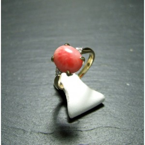 9ct Yellow Gold Coral and Diamond Dress Ring