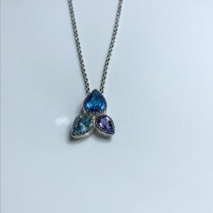 Silver triple stone set pendant Blue Topaz, Tanzanite, London Blue Topaz