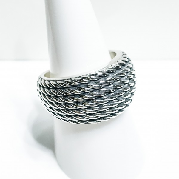 Silver Oxidised Rope Dress Ring