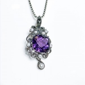 Silver amethyst marcasite and Pearl pendant