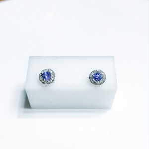 18ct White Gold Tanzanite and Diamond Stud Earrings