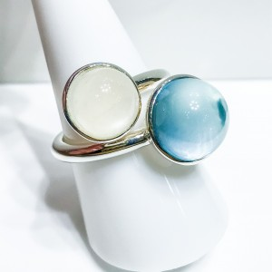 Silver Blue Topaz and Moonstone Dress Ring