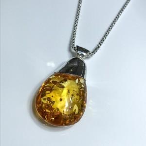 Silver Light Brown Amber Pendant