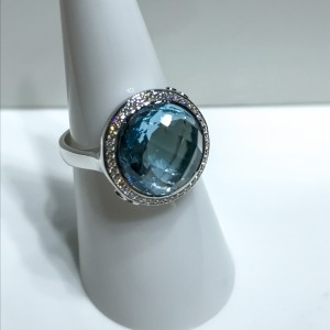Silver Blue Topaz and CZ Dress Ring