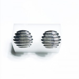 Silver round ribbed finished earrings