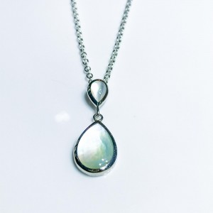 Silver double pear shaped Mother of Pearl pendant