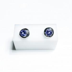 18ct White Gold Tanzanite Stud Earrings