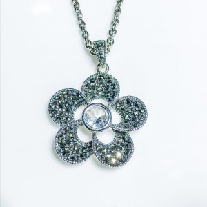 Silver marcasite and cz flower pendant