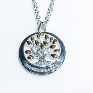 Silver cz set Tree of Life pendant Rose gold plated leaves